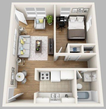 Adorable One Bedroom Apartment Design Idas13