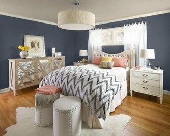 Beautiful Navy Blue And Coral Bedroom Decor02