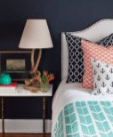 Beautiful Navy Blue And Coral Bedroom Decor03
