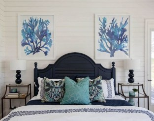 Beautiful Navy Blue And Coral Bedroom Decor12
