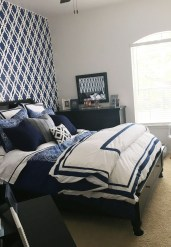 Beautiful Navy Blue And Coral Bedroom Decor13
