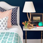 Beautiful Navy Blue And Coral Bedroom Decor16