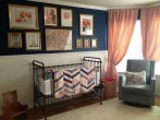Beautiful Navy Blue And Coral Bedroom Decor19