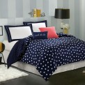 Beautiful Navy Blue And Coral Bedroom Decor25