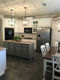 Incredible Farmhouse Gray Kitchen Cabinet Design Ideas27