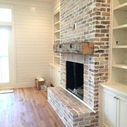 Modern Brick Fireplace Decorations Ideas For Living Room05