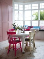 Stunning Dining Room Design Ideas With Multicolored Chairs32