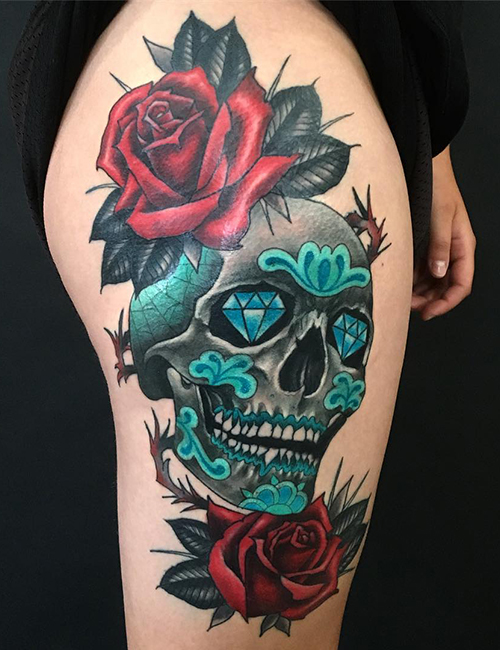 Dashing Skull Tattoos Designs With Roses On Hand Back Tattoo
