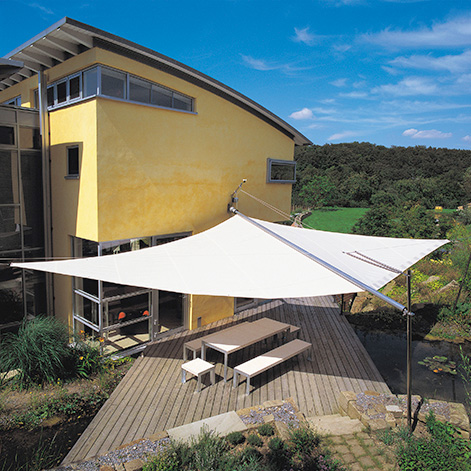 Sun Square retractable awning provides sun and rain protection