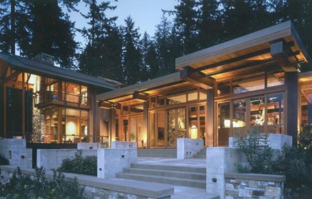 Beautiful house of wood, stone and steel on Bainbridge Island | Modern ...