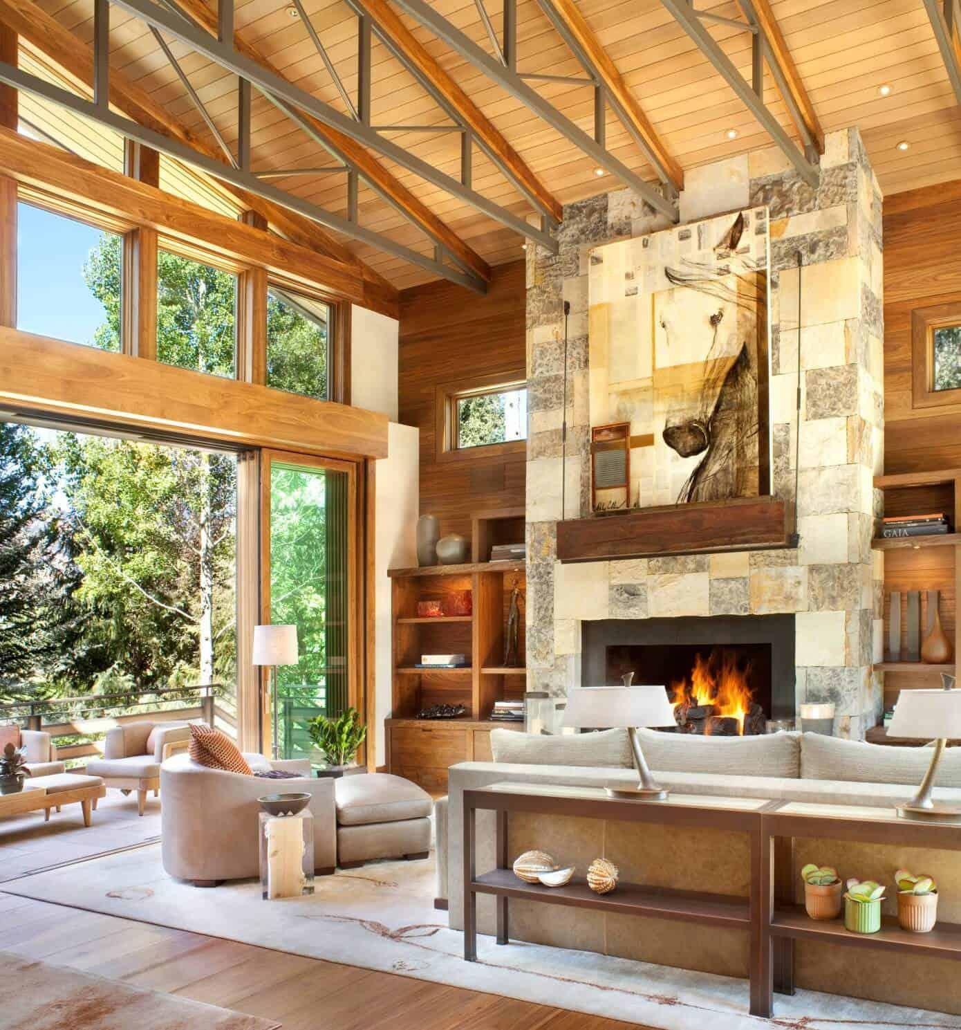 Striking Natural Stone Fireplace Design