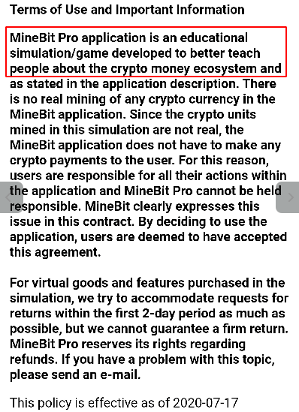 The MineBit Pro - Crypto Cloud Mining & btc miner application's Terms of Use and Important Information section