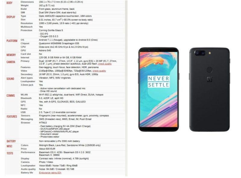OnePlus 5t - specs - Best Bezel less Phones 2018 - TrendMut - Best Smartphones