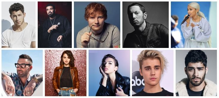 Top Ten Most Popular Singers of 2018