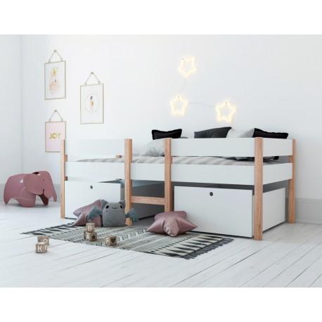 lit mi hauteur avec rangements blanc alto junior bln kids