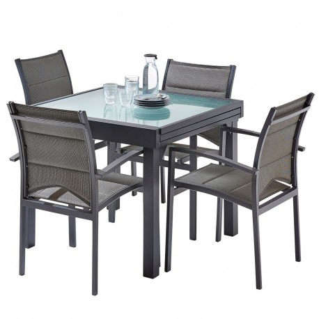 salon de jardin table extensible l90 180cm et 4 fauteuils col gris modulo wilsa