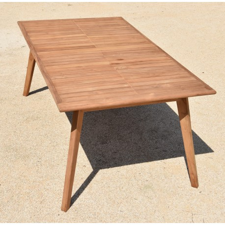 table de jardin extensible en teck massif l180 240x100x75cm tahiti givex
