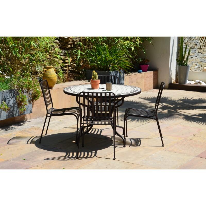 table ronde de jardin en fer forge et