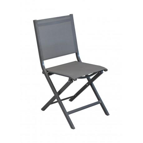chaise pliante en aluminium epoxy gris et textilene gris thema lot de 6 proloisirs