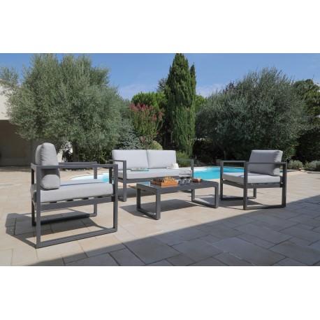 salon de jardin 4pcs en aluminium gris avec coussins deperlants gris dina proloisirs