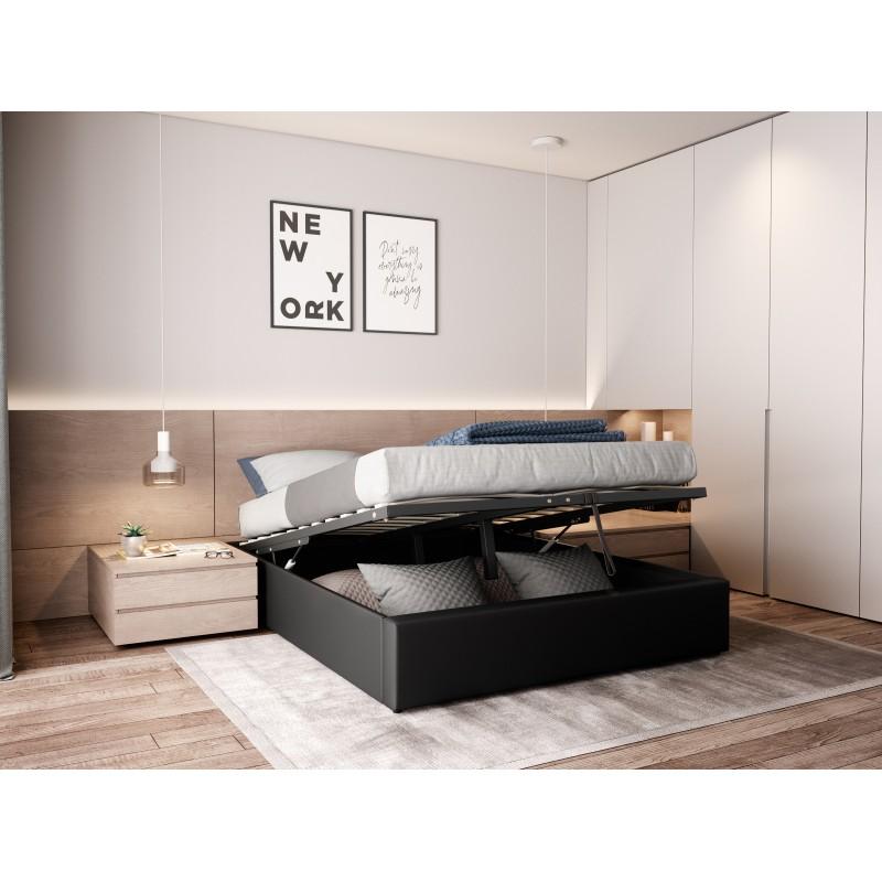 Lit Coffre Simili Noir 160x200 Iris Linea Deco Fonctionnel Et Compact