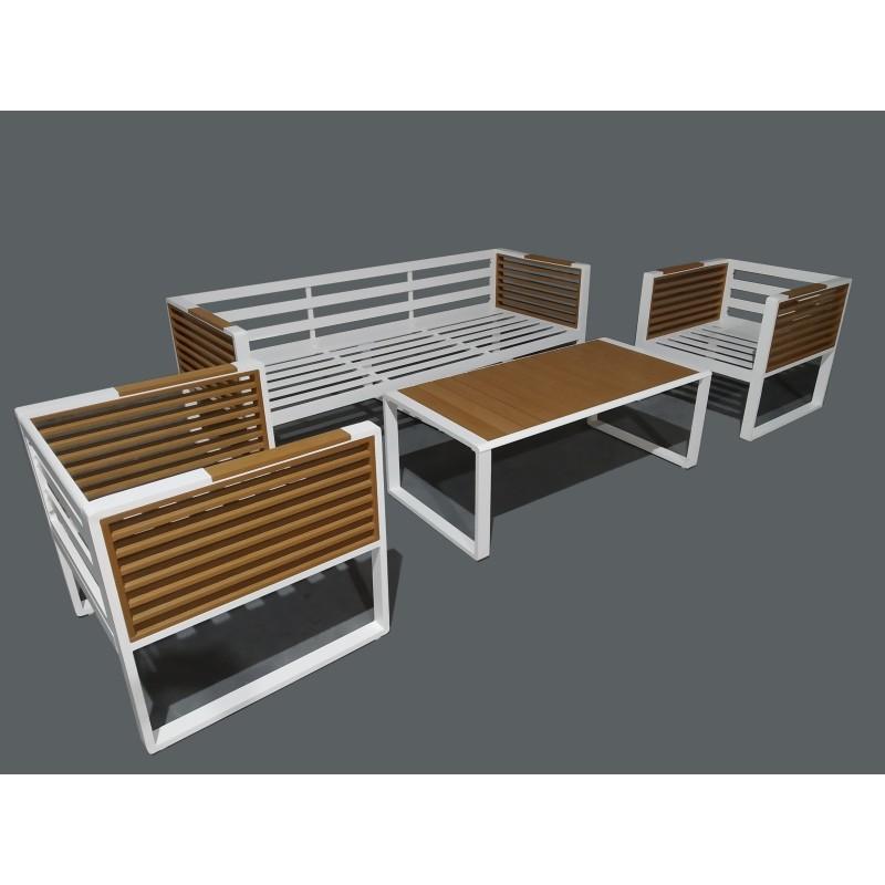 salon de jardin design en aluminium et