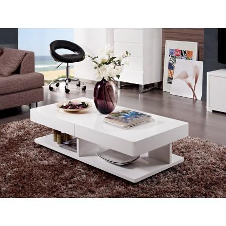 table basse blanc laque avec coffre et ouverture synchronisee ulysse meja