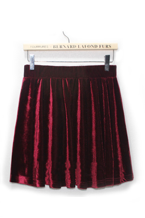 Pleated-High-Waist-Velvet-Skirt