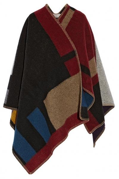 classic-plaid-color-blocked-boho-cape-scarf