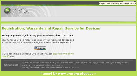 Xbox 360 service website