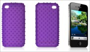 Purple Textured Silicone Skin Back Case for iPhone 4