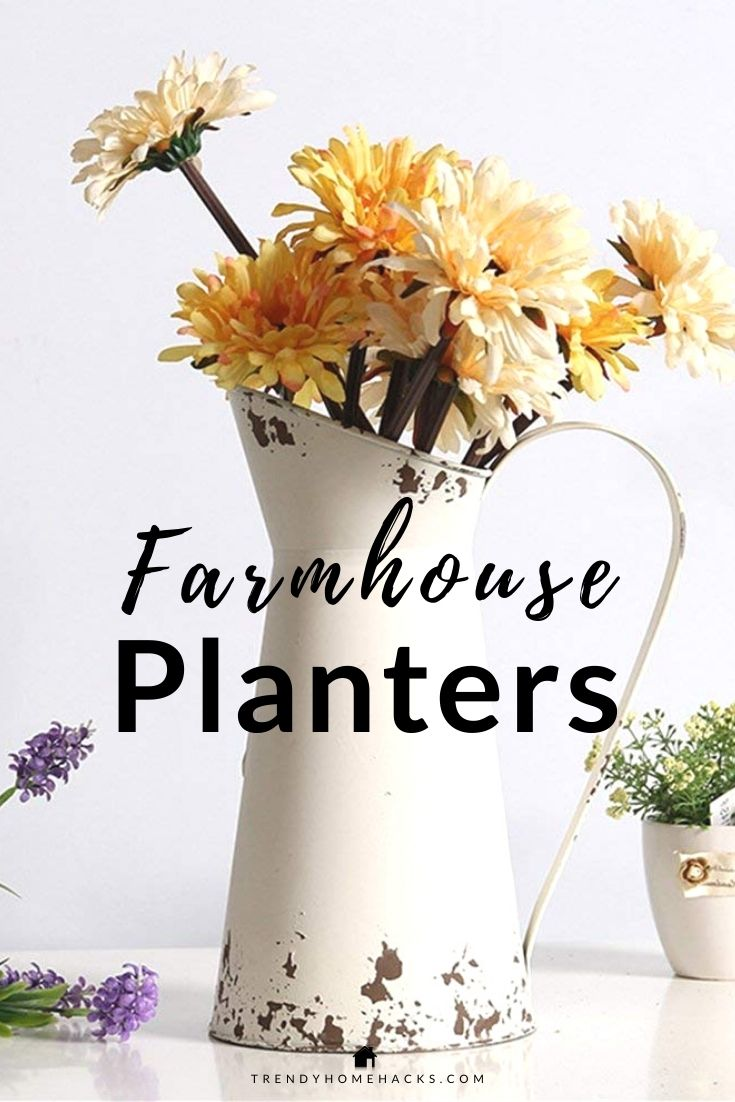 White Farmhouse Pitcher Planter