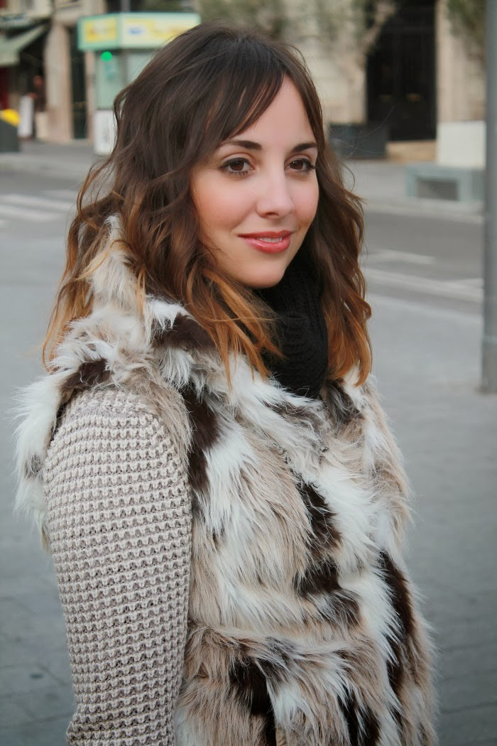 Fur vest with coat