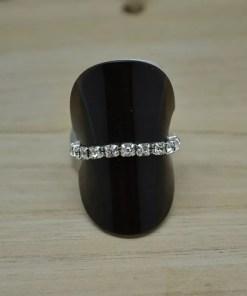 Elastische ring met 1 rij zirkonia - Trendy Juweeltjes
