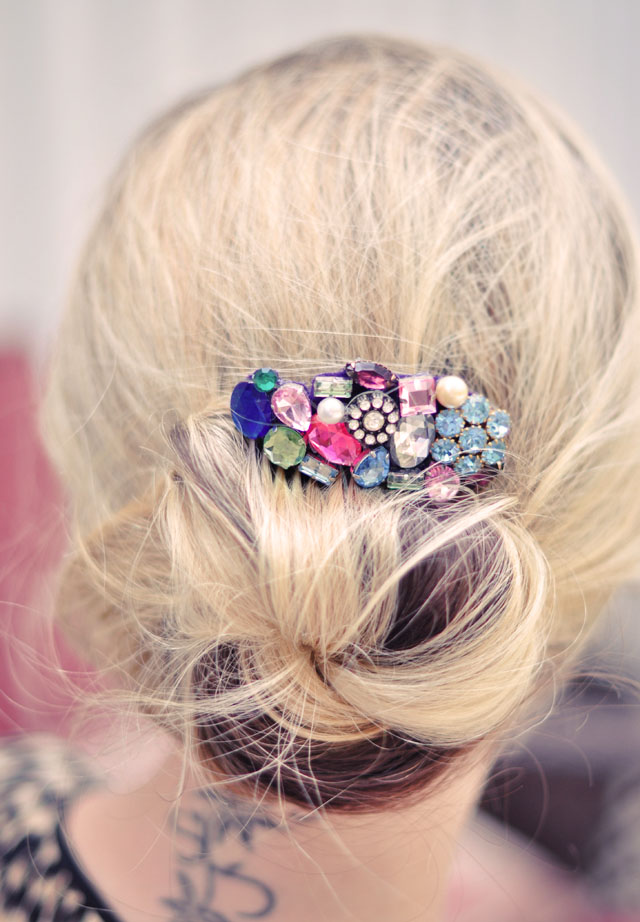 DIY jeweled hair comb - low bun