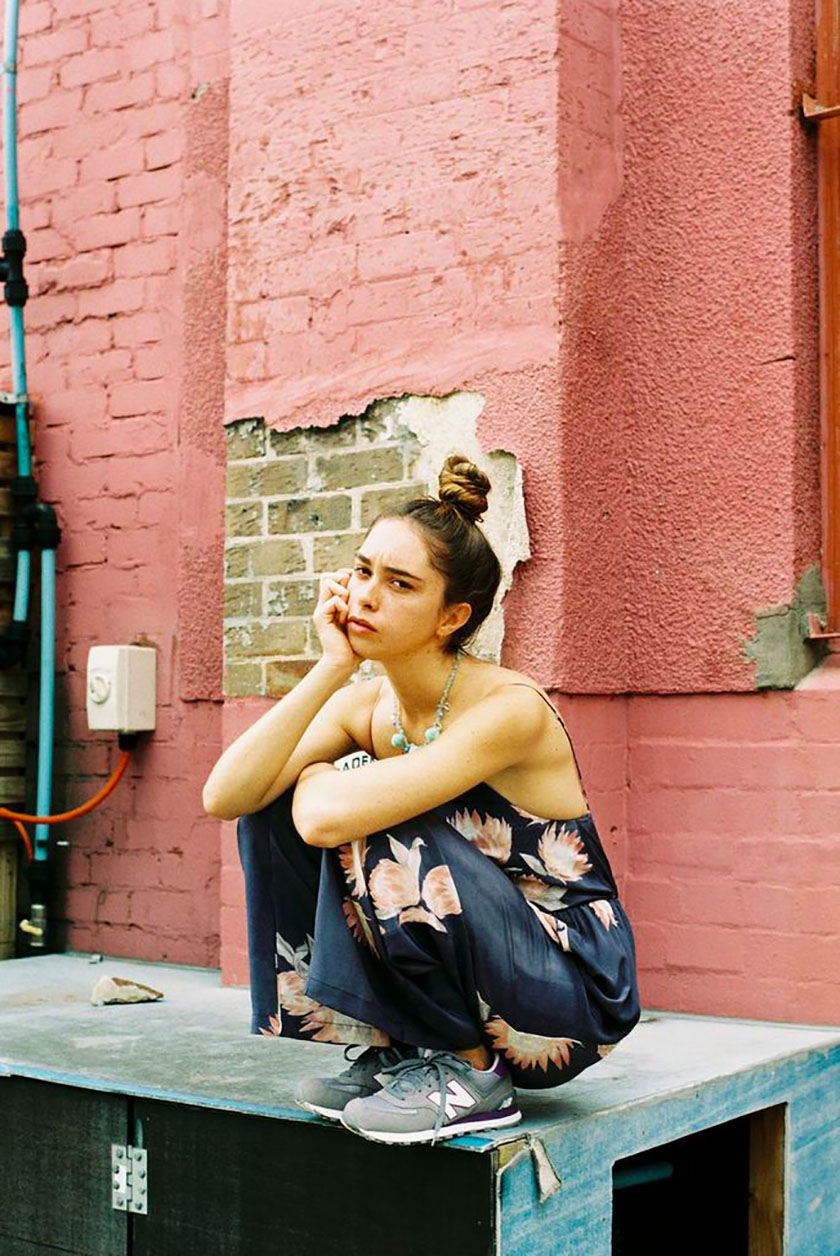 Girl in Jumpsuit - Pink Wall