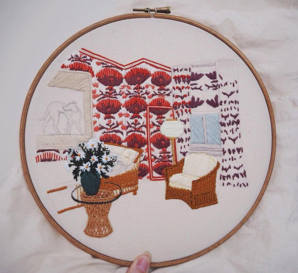 Used Threads Embroidery - Interior in progress 1