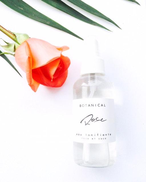 ROSE eau floral, lotion tonique, tonifiant, brume visage, huiles essentielles, soins de la peau, vegan, eau de rose, eau de coco