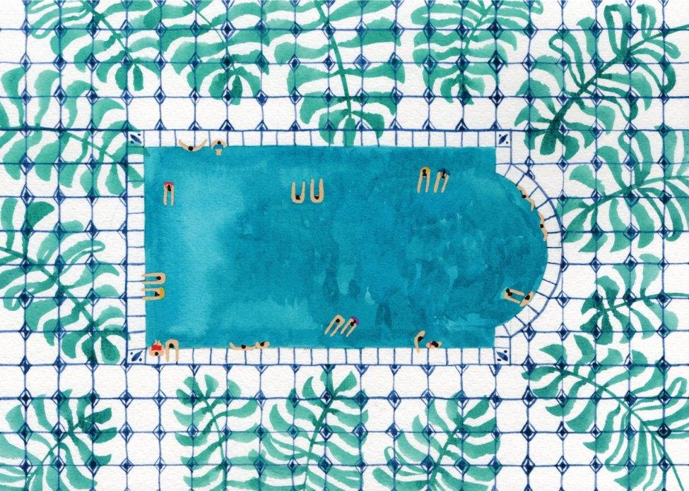 Impression d'art de peinture aquarelle originale - « Tropical Pool »