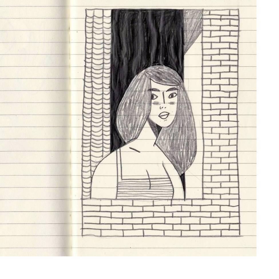 Thibaut Rassat Drawing - Girl Waiting at the Window