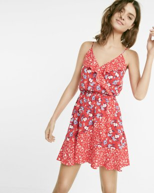Robe Floral Print Ruffle Surplice Express