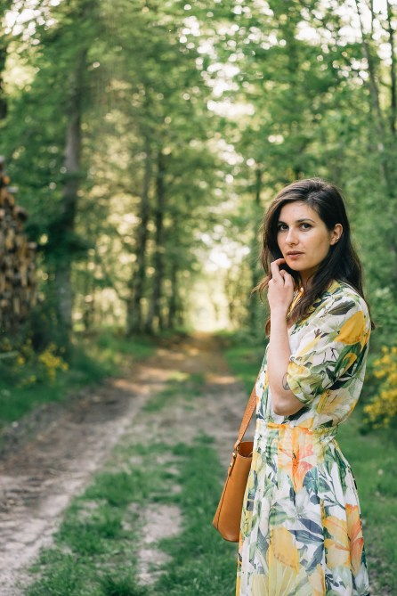 Robe fleurie H&M - Forêt de Fontainebleau-1
