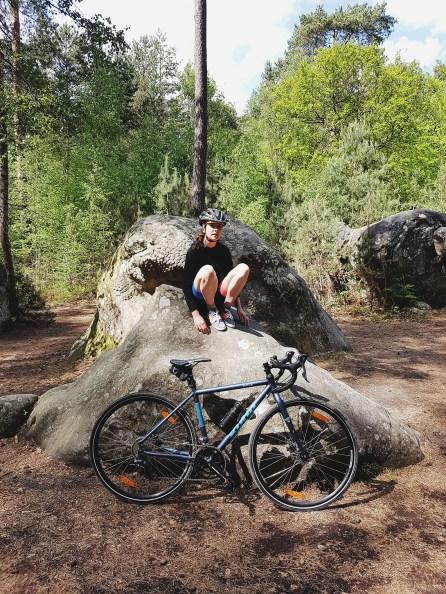 Cycliste dans la forêt de Fontainebleau