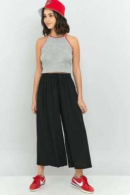 Jupe culotte fluide noire à ceinture élastique - UO