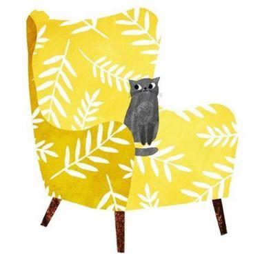 Illustration petit chat sur un fauteuil jaune