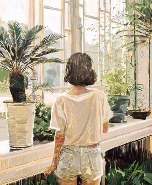 Illustration feutre jeune fille dans une serre