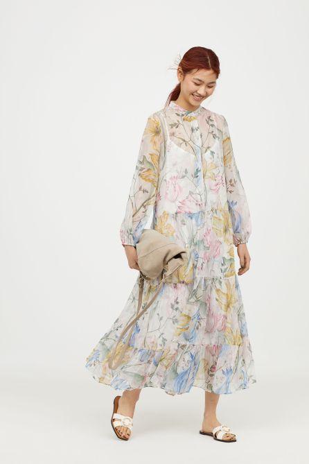 Robe longue en mousseline H&M