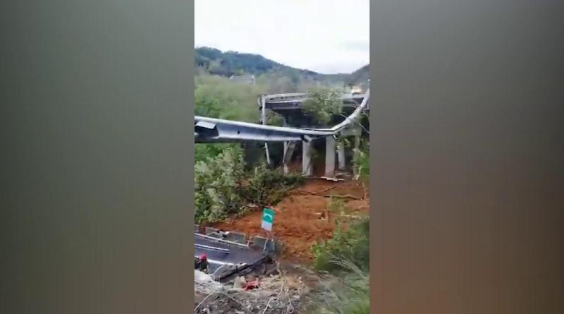 Maltempo, crolla un tratto del viadotto sulla Torino-Savona