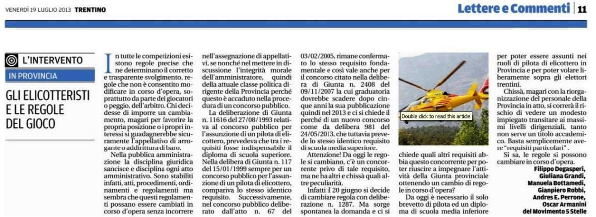 Lettera pubblicata sul Trentino