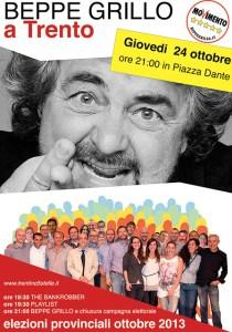 Giovedì 24 ottobre: BEPPE GRILLO in Piazza Dante a Trento